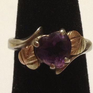 Amethyst 12K Ring Sz 6 Black Hills Gold Sterling Silver Rose Heart Vintage Jewelry Birthday Christmas Valentine's Anniversary Holiday Gift