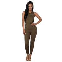 Solid Color Sleeveless Tight Jumpsuit