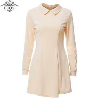 CUQY 2017 New Arrival Solid Cute Mini Ladies Dress Peter Pan Collar School Preppy Style Dresses Zipper Long Sleeve Mini Dresses