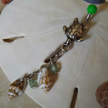 Turtle Belly Ring Green Ball with Natural Shell and Green Bead  Accent Body Jewelry
