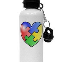 Big Puzzle Heart - Autism Awareness Aluminum 600ml Water Bottle by TooLoud