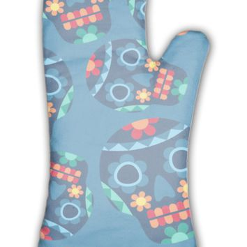 Oven Mitt, Mexican Pattern With Skulls In Native Style