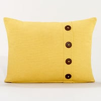 Yellow Ribbed Throw Pillow with Buttons | Pillows and Throws| Home Decor | World Market