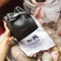 """Coach"" All-match Fashion Drawstring Bucket Bag Women Single Shoulder Messenger Small Bag"