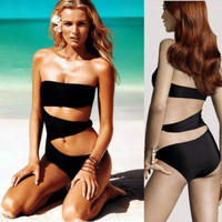 SIMPLE - Black Hollow Bandage Slim Bikini One Piece Swim Suit a10447