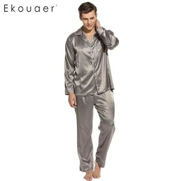 Ekouare Mens Long Sleeve Pajamas Male Sleepwear Tops Man Casual Sleep Shirt Clothing Pajamas Turn Down Collar Nightwear