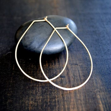 Teardrop Hoop Earrings - Silver and Gold