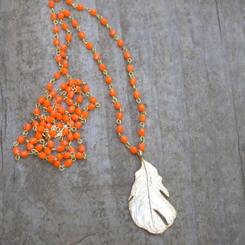 "Long Orange Beaded Necklace, Long Pendant Necklace, Boho Jewelry, Long Beaded Necklace, Gold Feather Pendant, Bohemian Jewelry, 32"" GORGEOUS"