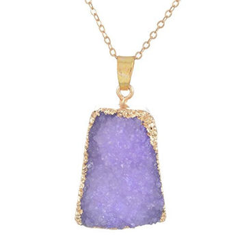 MJARTORIA Gold Color Bezel Raw Natural Stone Healing Power Purple Quartz Pendant Druzy Necklace