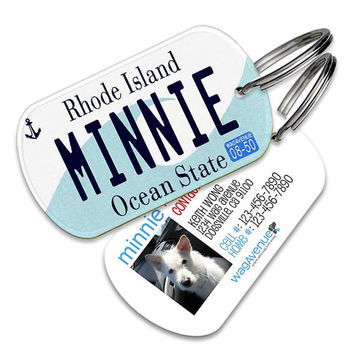Rhode Island License Plate Pet Tag - Personalized Pet ID Tag, Custom Dog Tags, Cat ID Tag, Dog Name Tags, Dog Tags for Dogs, Dog License Tag