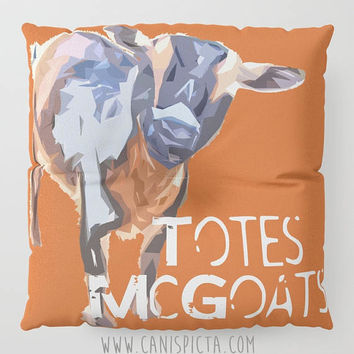 Totes Mcgoats Floor Pillow Square Quote Decorative Cover Pop Culture Text Humor Funny Orange Farm Animal Goat Art Blue Cushion Magoat Cute