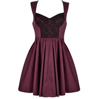 LACE INSERT SWEETHEART SKATER DRESS
