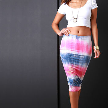 Acid Wash Tie Dye Pencil Midi Skirt