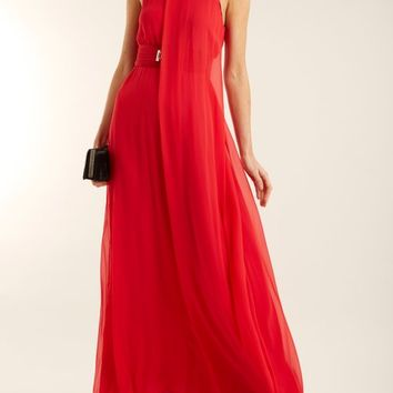 Flamingo halterneck silk-crepe gown | Galvan | MATCHESFASHION.COM UK