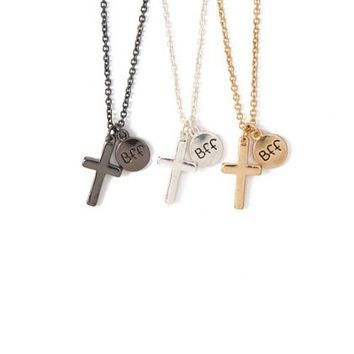 Best Friends Forever Cross Pendant Necklaces Set of 3 | Claire's