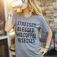 Gray T Shirt Women Stressed Blessed And Coffee Obsessed