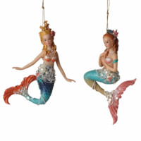 Colorful Beaded Mermaid Ornaments  - Set of 2