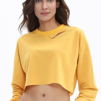 Long Sleeve Ripped Crop Top Sweatshirt