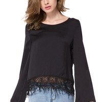 Black Bell Sleeve Laced Hem Blouse