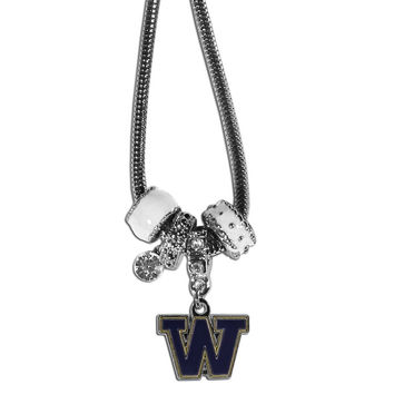 Washington Huskies Euro Bead Necklace CBNK49
