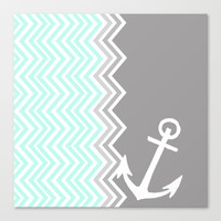 Nautical Chevron Canvas Print by Sunkissed Laughter