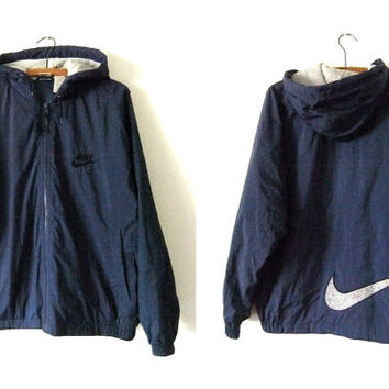 NIKE Nylon Parka - Sporty 90s Health Goth Fleece Lined Hooded Anorak - Mens Medium