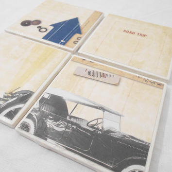 Decorative Tile Coasters in Vintage Car Road Trip Theme (4)