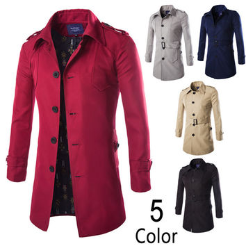 Long Trench Coat Men Single Breasted Outerwear Coat Men's Jackets