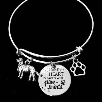 Golden Retriever Dog Expandable Charm Bracelet Adjustable Silver Wire Bangle Pet Lover Gift