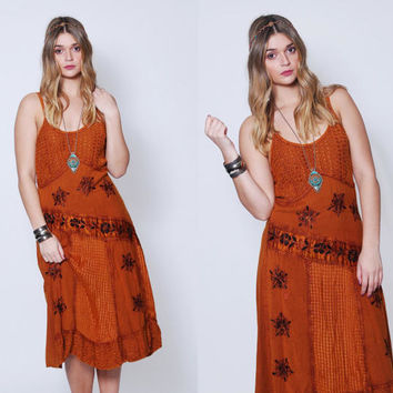Vintage 90s Indian FLORAL Sun Dress EMBROIDERED Sleeveless Dress Boho Hippie Dress