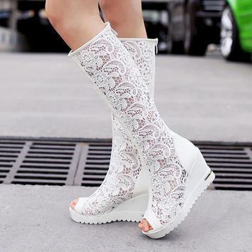 Chinese Ethnic sexy nightclub style peep toe summer cool knee high boots fashion cut-outs platform high-heeled wedge women shoes
