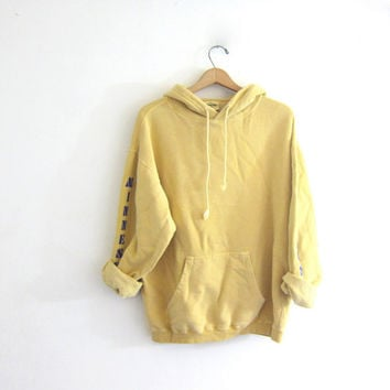 Vintage faded yellow sweatshirt. Hooded sports sweatshirt. Minnesota Vikings cotton boyfriend hoodie. Sporty pullover