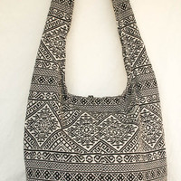 Woven Bag black white art graphic purple hobo bag sling shoulder crossbody hippie boho purse tribe gypse YAAMSTORE