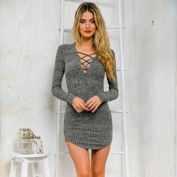 2016 New Winter Sexy Mini Dress Sexy V Neck Package Hip Slim Knitted Sweater Dress Bodycon Bandage Party Dresses