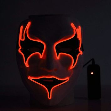 LED Light Up Halloween Mask  Neon Luminous Wire Glowing Ghost Masks Glow In Dark Scary Party Cosplay #BF