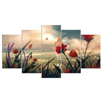 5 panel wall art on canvas floral flower on beach ocean sea water landscape