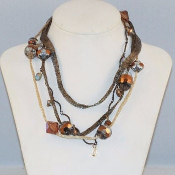 Perfect Fall Color! Women Bronze Tone Fabric and Metal Necklace Faceted Beads