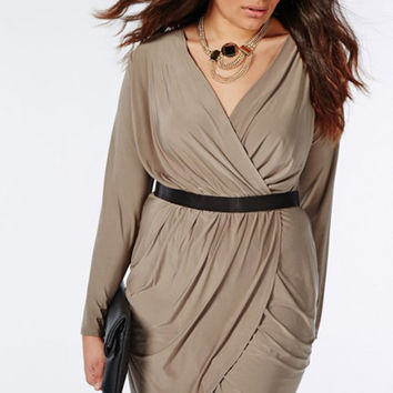 Plus Size Long Sleeve V-Neck Ruched Dress