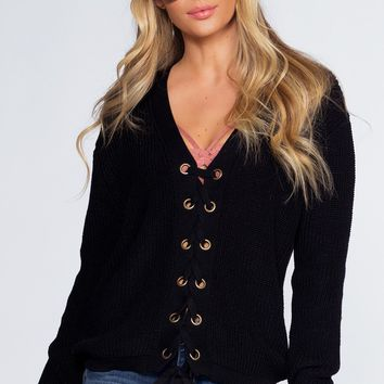 Lyla Lace Up Sweater - Black