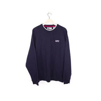 FILA sweatshirt - navy blue - minimal logo - mens XL
