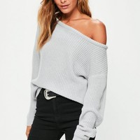 Missguided - Gray Off Shoulder Knitted Sweater