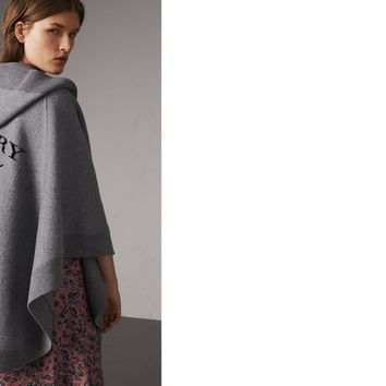 Wool Cashmere Blend Hooded Poncho in Mid Grey Melange - Women | Burberry