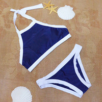 Deep Blue Sporty Halter Neck Bikini