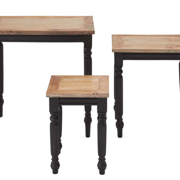 White Mahogany Wood Accent Table With Sturdy Legs (Set Of 3)