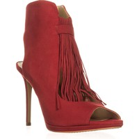 Vince Camuto Abigalla Fringe Pumps, Ruby Red, 9.5 US