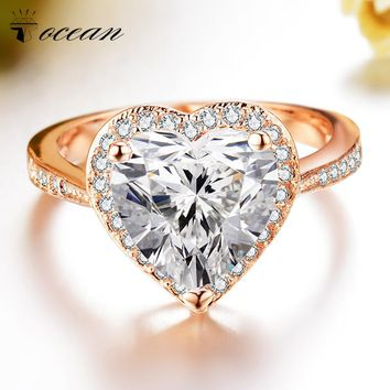 Tocean Rose Gold Color Wedding Ring for Women Heart Cute LOVE Zircon Engagement Femme Bijoux Bague Size 5 6 7 8 9 10 11 12 W013