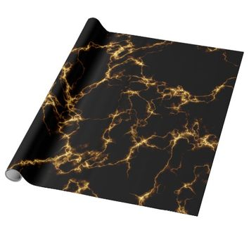 Elegant Marble style3 - Black Gold Wrapping Paper