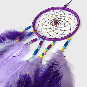 FREE SIPPING. Purple Dream Catcher. Bohemian Decor. Large Dream Catcher. Nursery Mobile. Bedroom wall decor.