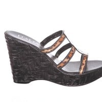 Damiani's By Italian Shoemakers Leopard Print Strap Wedge Sandals