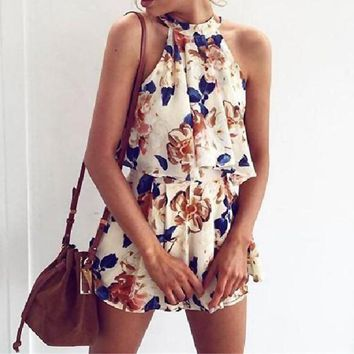Summer Classic Popular Women Sweet Flower Print Sleeveless Top Shorts Two Piece Set